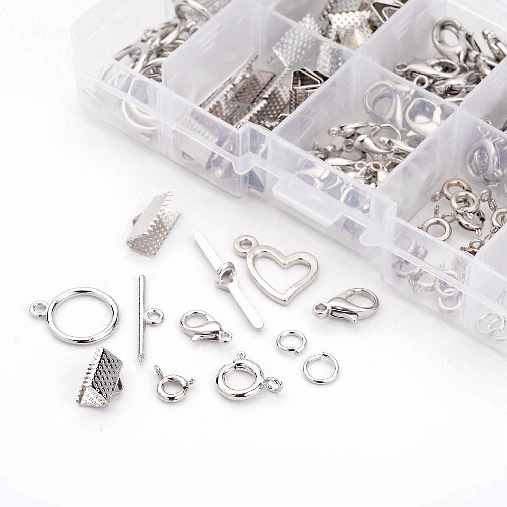 Mixed Jewelry Findings with 40 Lobster Claw Clasps and Spring Clasps + 20 sets Toggle Clasps + 30 Ribbon Ends + 10g Jump Rings(China (Mainland))