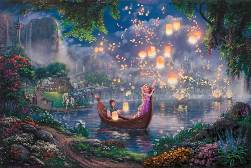Tinkerbell and Peter Pan fly to Neverland Thomas Kinkade Oil Paintings Art Print On Canvas no frame. NO.174(China (Mainland))