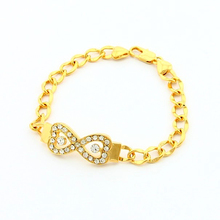 Popular Fine Women Heart To Heart Romantic Bracelet Yellow Gold Attractive Crystal Chain Top Quality Fashion Jewelry JH020(China (Mainland))