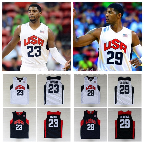 2012 USA Olympics Basketball Team #23 Kyrie Irving #29 Paul George White Blue Team USA Jersey, Embroidery Logos, Size: S-XXL(China (Mainland))