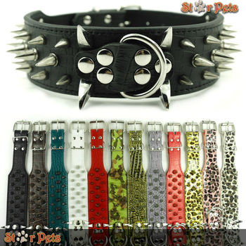 """2inch Wide 12 Colors Sharp Spiked Studded Horn Nails Leather Dog Collars 15-26"""" For Pitbull Mastiff  More Breeds 4 Sizes"""
