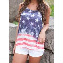 2016 New Women Casual T shirt Tops Stars and Stripes Print T Shirt American Flag Print Tops T Shirt Tanks(China (Mainland))