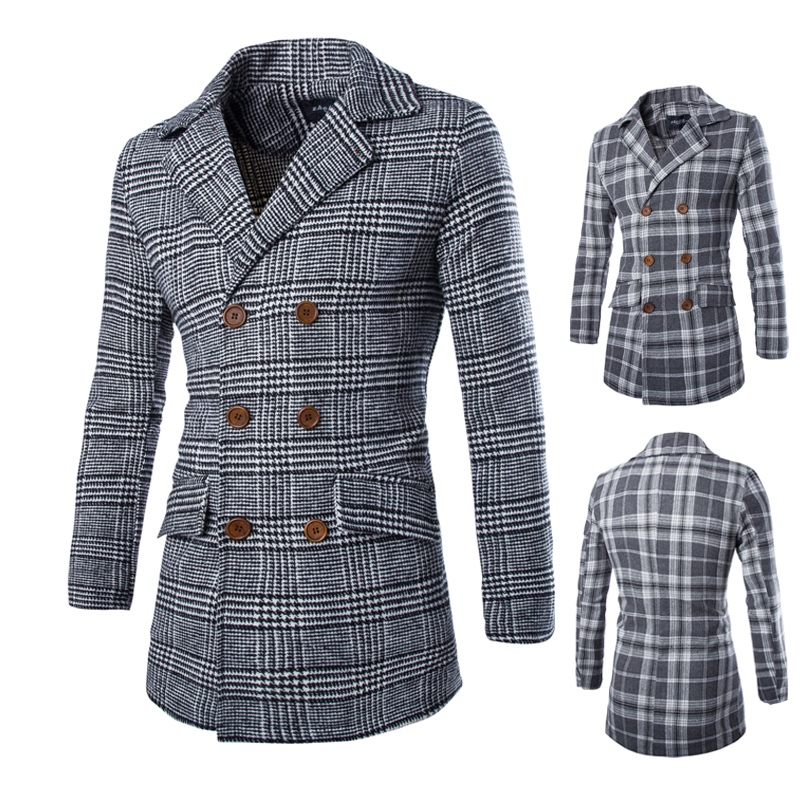 Plaid Double-breasted Wool Coat 2015 New Arrival Fashion Hot Sale Men Casual Slim Fit Coats Long Men Coat Solid Outwear(China (Mainland))