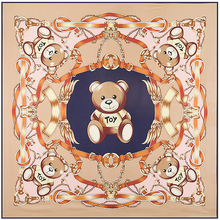 Size:130*130cm Hot! Twill Silk ladies' scarves 2016 new charm fashion Cartoon Bear digital print women's large size silk scarves(China (Mainland))