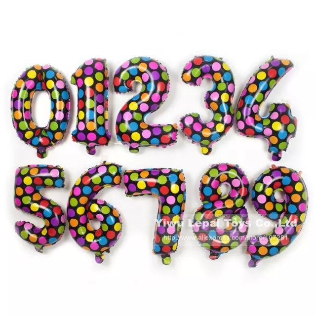 2015 New style 18inch Colorful Polka Dot Number Foil Balloons, 0-9 Digit Balloon, Wedding & Birthday Party Decorations(China (Mainland))