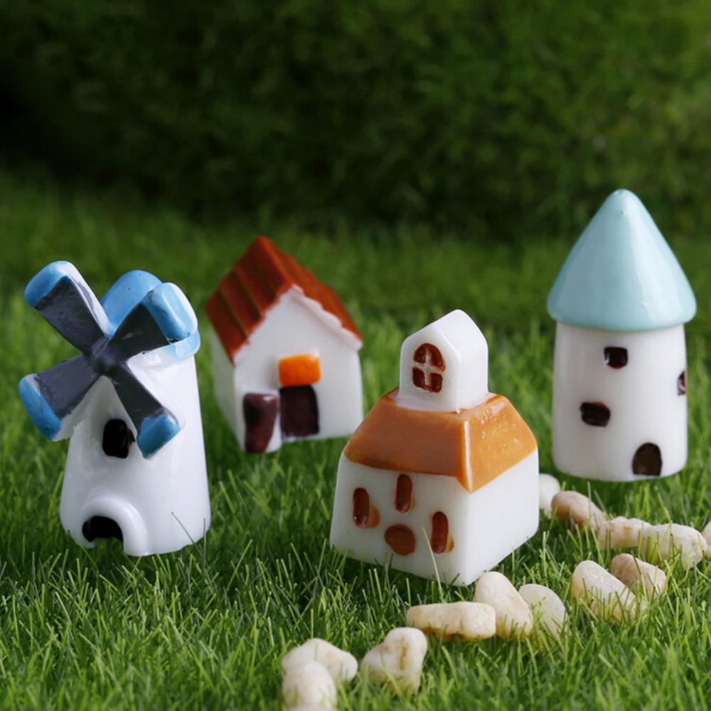 4PCS/set Mini Resin Church Castle Windmill Shed Cabin House Fairy Garden Miniature Craft Micro Cottage Landscape Decoration(China (Mainland))