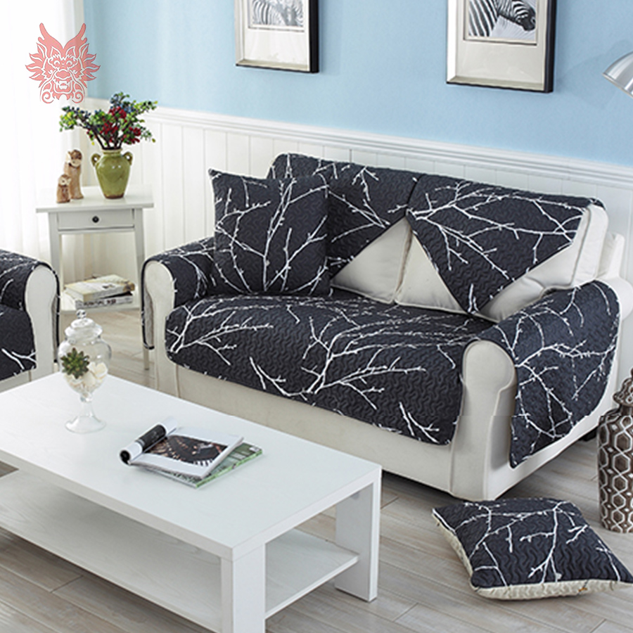 Modern style white black print sofa cover 100 cotton for Canape sofa cover