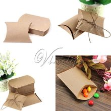 100pcs Cute Kraft Paper Pillow Favor Gift Box Wedding Party Favour Gift Candy Boxes Paper Gift Box Bags Supply(China (Mainland))