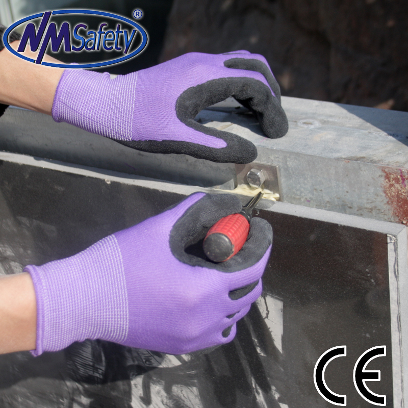 NMSAFETY 13G knit nylon/polyester liner palm latex coated industrial/mechanic protect gloves Friction resistant gloves<br><br>Aliexpress