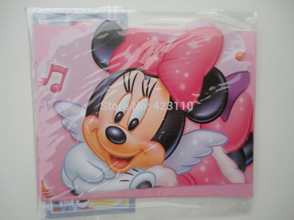Girl kids 3rd 4th 5th -17th happy birthday party Pink Minnie mouse invitation cards invites envelops supplies(China (Mainland))