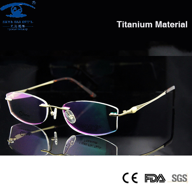 Luxury Golden Color Woman Titanium Glasses Rimless ...
