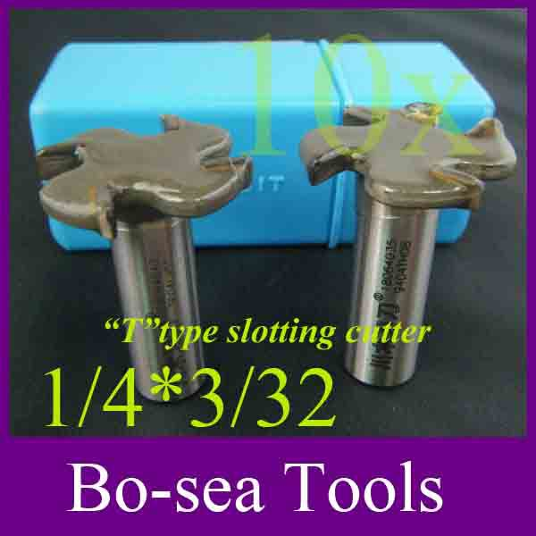 10 pieces/lot Router Bits T type slotting cutter Bit for woodworking 1/4 Shank Tungsten Carbide size 1/4 x 3/32, High Quality(China (Mainland))