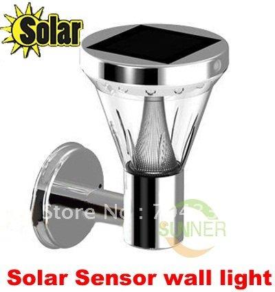 Solar stainless steel White 12+1 LED Motion Sensor PIR Wall Mount Garden Light Lamp ,garden lights+6v/1.2W Solar paenl