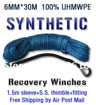 New Strong 100% UHMWPE Synthetic Winch Cable/Rope 6MM*30Meter W/T for 4WD/ATV/UTV/SUV Winch Use////free shipping