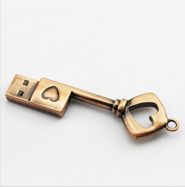 HOT USB Pen Drive Metal Pure Copper Heart Key Gift USB Flash Drive mini USB stick Key Genuine 2gb 4gb 8gb 16gb 32gb Thumb Stick(China (Mainland))