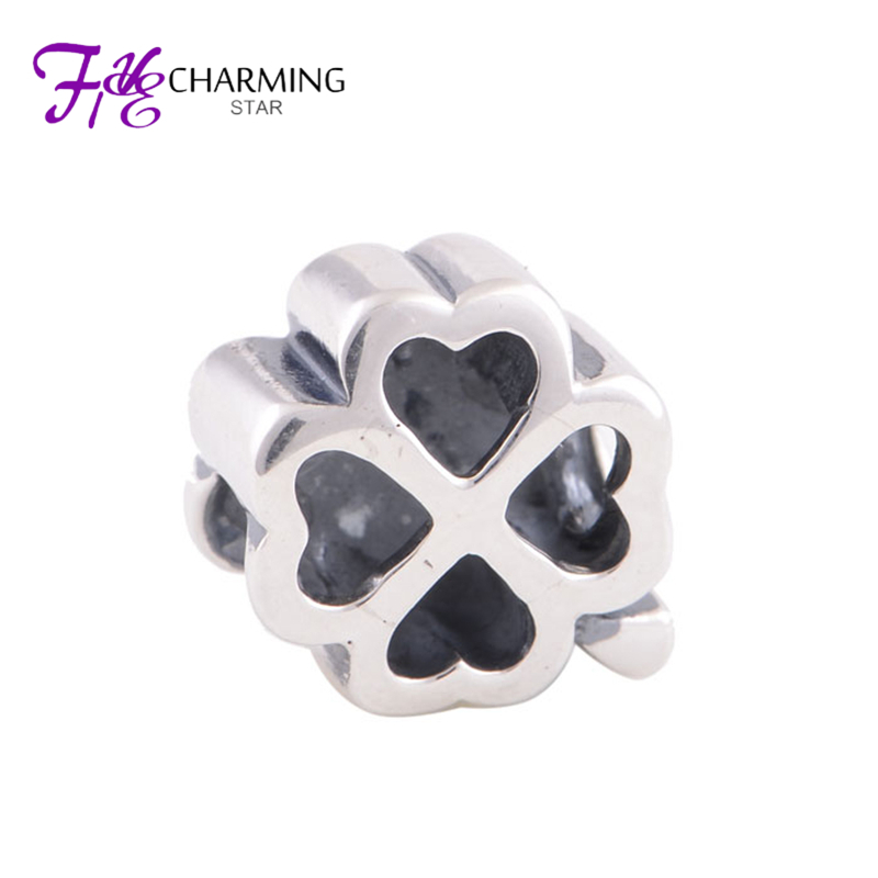925 Sterling Silver Forever Best Friends Hollow Clover Charm Good Luck Wish Fits Charm Bracelet Fine Charming Star YZ406(China (Mainland))