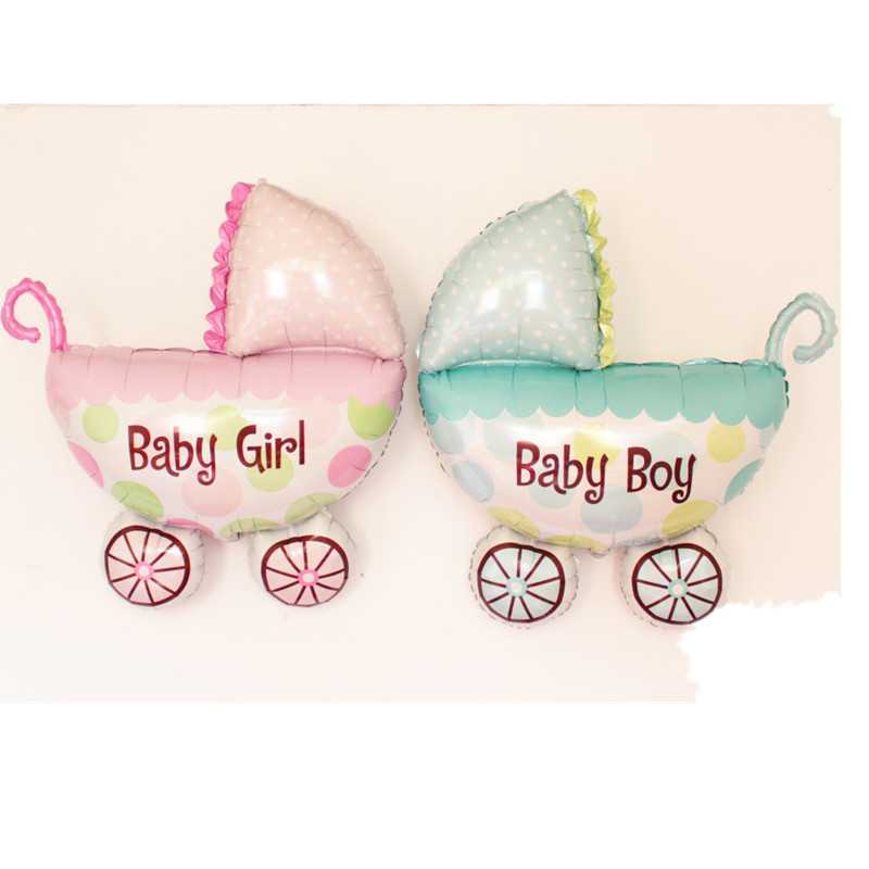 Cartoon Boys Girl Baby Carriage Inflatable Aluminum Foil Globos 100*90cm Toys Balloons Baby Shower Party 1st Birthday Decoration(China (Mainland))