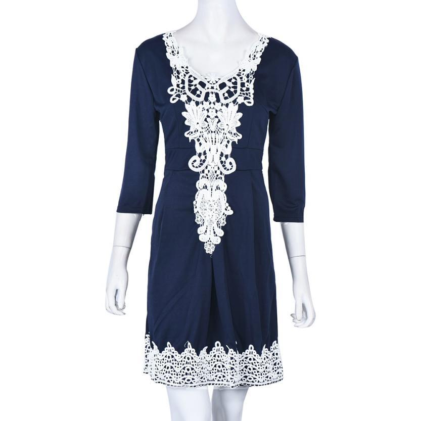 Newly Design Women Sexy Navy Blue Lace High Waist Evening Night Club Mini Dress 160428(China (Mainland))