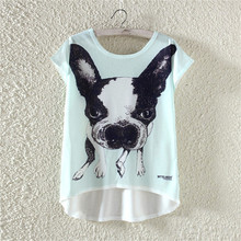 2017 Hot sale funny pets lovely dog t shirt women girl cool summer Design cute cartoon shirts Brand Good quality casual tops(China (Mainland))