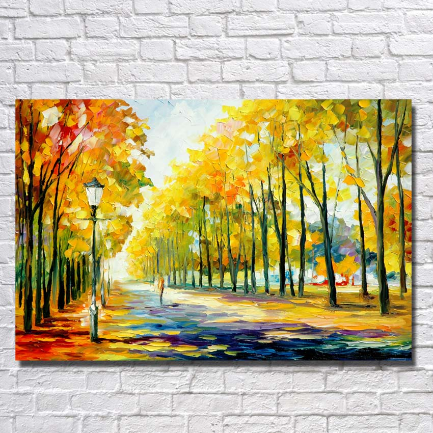 Big Size100% Hand Painted Beautiful Yellow Tree Landscape Palette Knife Painting Canvas Living Room Decor Art Framed