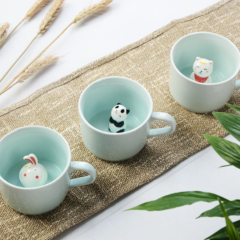 Creative 230ML 3D kawaii cartoon animal Ceramic milk Cup cute Panda Coffee Mug birthday Gift(China (Mainland))