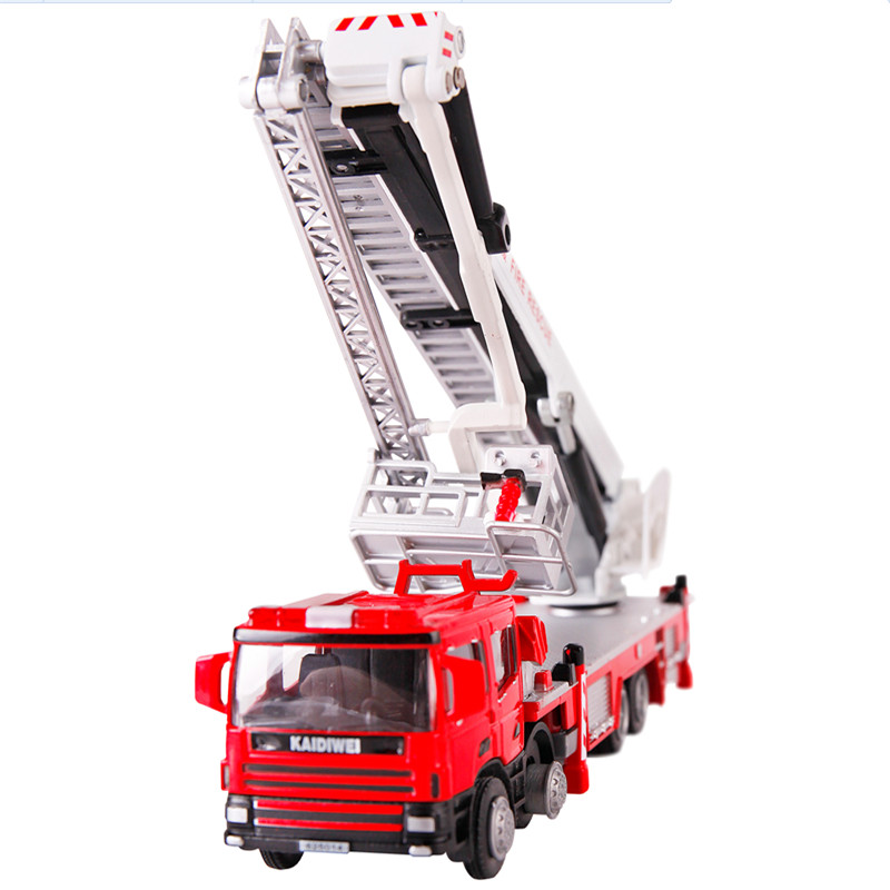 Alloy Elevated Firefighting Truck Toy 1:50 Scale Die cast metal +ABS Fire Rescue Car Model Kids Toys(China (Mainland))