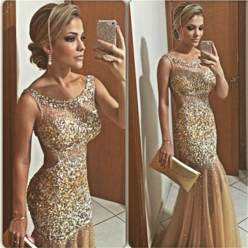 Sexy Scoop Neck Sleeve Silver Gold Crystal Beading Champagne Tulle Mermaid Long Cheap Evening Dress 2016 Prom Dress(China (Mainland))