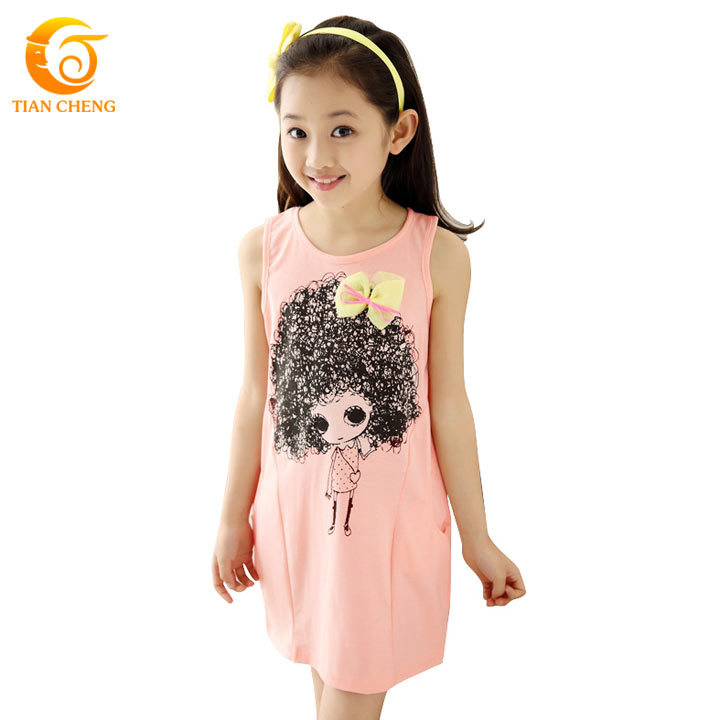 2015 Stylish Character Teenage Girls Fashion Dresses Sleeveless Solid Vestidos Para Menina Ropa De Ninas Vetement Fille(China (Mainland))