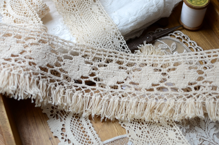 10Meters Cotton Off White Fringe Lace Trims For Sewing Craft Free Shipping(China (Mainland))