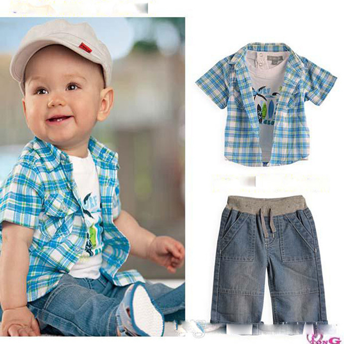 Baby boy clothing suit summer style 2015 children clothes white T shirt + plaid Coat + pant denim conjunto roupa infantis menina(China (Mainland))