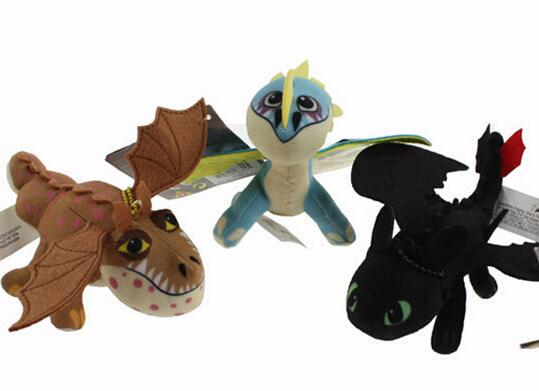3pcs/set 17cm-23cm How To Train Your Dragon 2 TOOTHLESS Night Fury Skull Crusher Gronkle Meatlug Stormfly Plush Stuffed toy(China (Mainland))