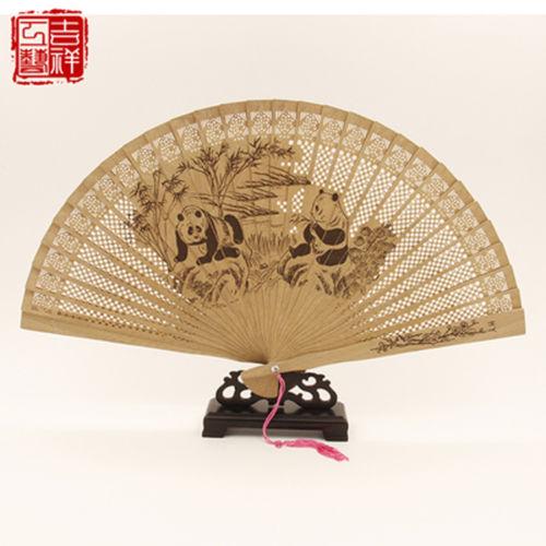2 pieces Chinese Handmade Classical Sandal Wood Fragrant Hollow Folding Bamboo Fan panda patten(China (Mainland))