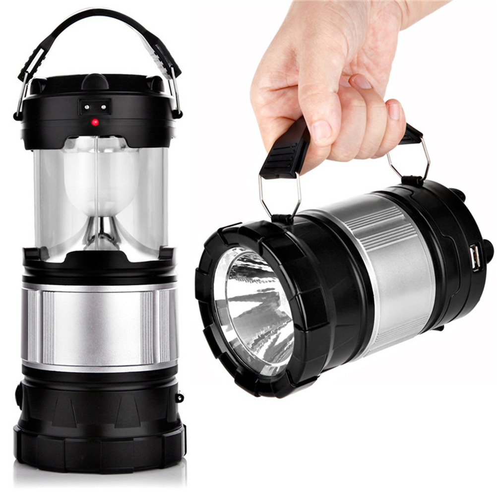 Portable Outdoor LED Camping Lantern Solar Lamp Lights Handheld Flashlights With Rechargeable Battery For Hiking Fishing(China (Mainland))