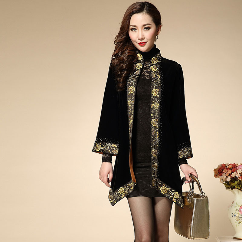 Novelty Coat 2015 New Autumn - Winter Black Full Sleeve Embroidery Covered Button Irregular Famous Brand Coat XXXXXL Одежда и ак�е��уары<br><br><br>Aliexpress