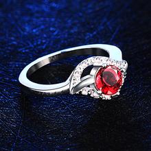 Luxury Red CZ Diamond wedding rings for women ruby Jewelry 925 sterling silver ring anel feminino