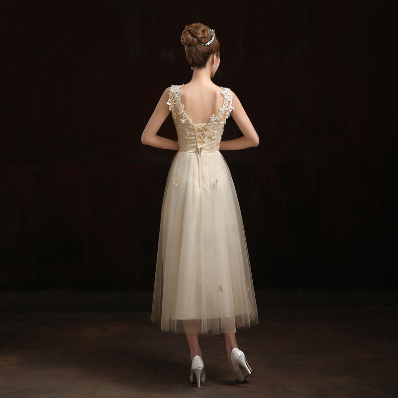 Buy free shipping 2016 new long women for Lace mid length wedding dresses