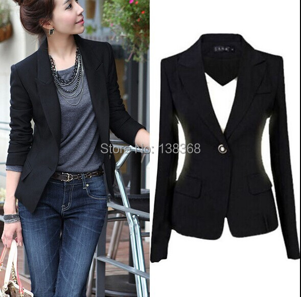 2014 Black Jackets Suit One Button Slim Ladies Blazers Work Wear Blazer Womens New