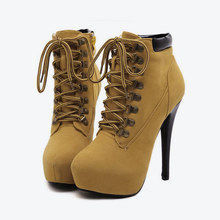Yeni kadın çapraz bağlı platformu seksi Stiletto yarım çizmeler kadın süet fermuar yüksek topuklu ayakkabı platformu bayanlar moda ince topuk(China)