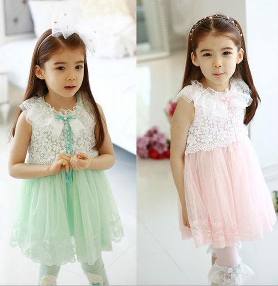 5pcs/lot New Fashion Summer  Sleeveless Hook Flower Lace Pearls Collar Girl Princess dress  Children Tulle  Dress Pink Green<br><br>Aliexpress