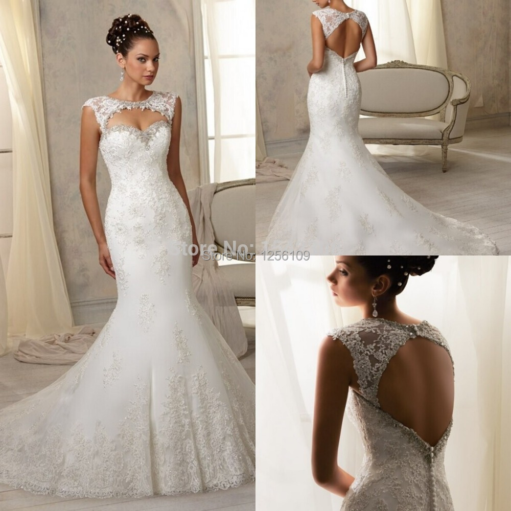 Free shippingstunning detachable berta wedding dress 2015 for Lace cap sleeve keyhole back wedding dress