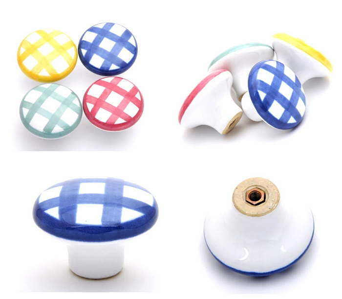 38mm Hand-painted Colorful Ceramic Knob Drawer Pull Handle Kids Bedroom Mediterranean Style Ceramic Dresser Wardrobe Closet Knob(China (Mainland))