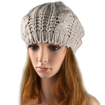 fashion pure color Braided lady's Crochet beret hat knitted cap 4 colors 38