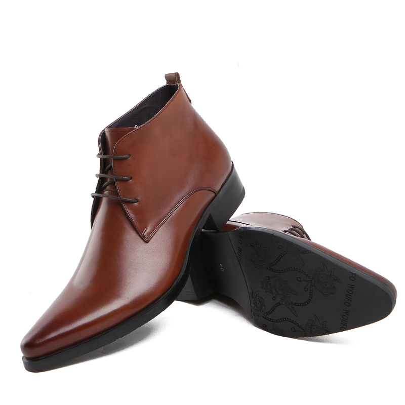 Men ankle boots genuine leather pointed toe mens business shoes zb20(China (Mainland))