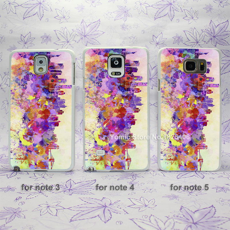 Central Marketing systems watercolor Design hard White Skin Case Cover for Samsung Galaxy note 2 3 4 5 s4mini s6edge plus(China (Mainland))