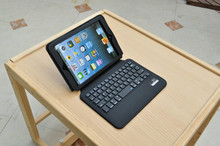 Free shipping high quality Bluetooth keyboard with leather cover stand case for ipad mini 1 2 3(China (Mainland))
