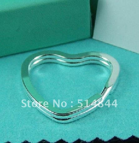 KY003 Silver Plated Heart Keyring Key Chain / Accept Mixed Order / Min Order $10 / Charmhouse Promote Item(China (Mainland))