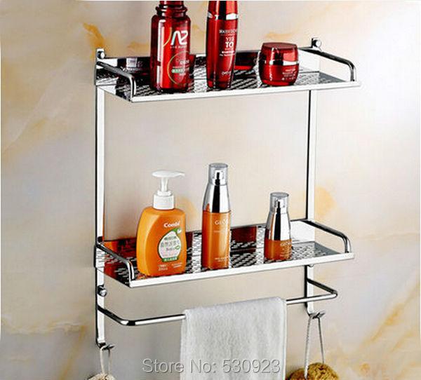 New Modern Stainless Steel 40cm Bathroom Commodity Shelf Wall Mounted Storage Rack Cosmetics Storage Rack Dual Tiers Wall-mount