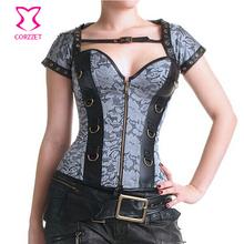 Women Steampunk Clothing Zipper Bustier Top Burlesque Costume Steel Boned Waist Training Corset Gothic Espartilhos E Corpetes