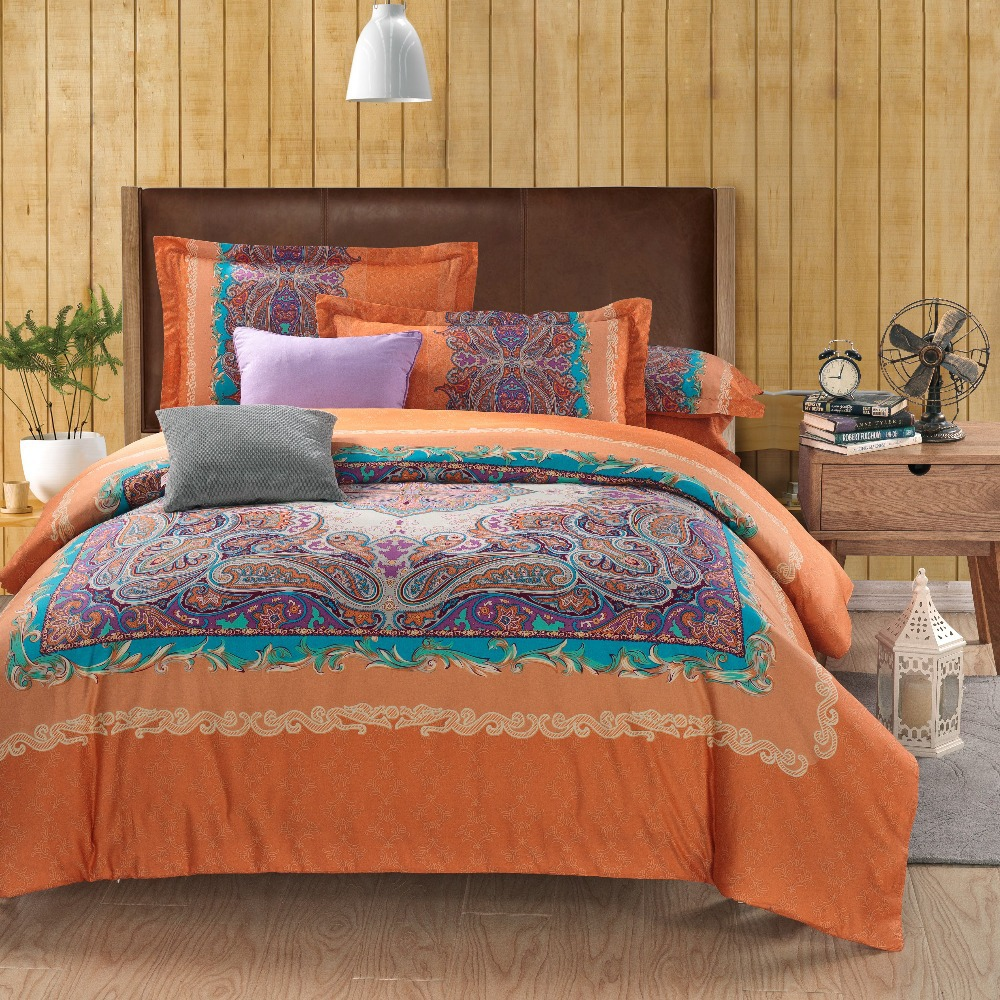 wholesale classic paisley orange queen king size bed lines bedding sets duvet cover sets bed. Black Bedroom Furniture Sets. Home Design Ideas