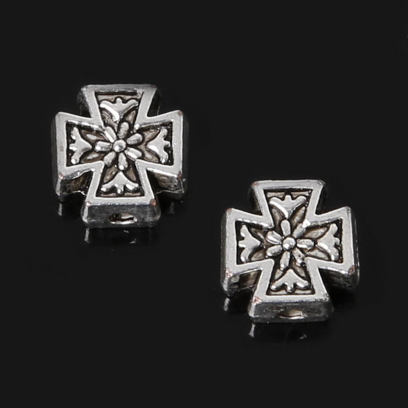 Penney Hot Sale 8*8mm 110pcs Zinc Alloy Beads Antique Silver Plated Loose Spacer Cross Beads Charms Jewelry Findings Fit DIY(China (Mainland))